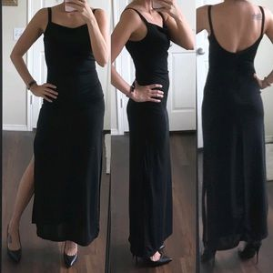Rampage slinky black open back vintage dress
